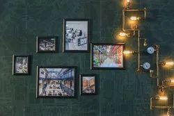 Restaurant interior wall art