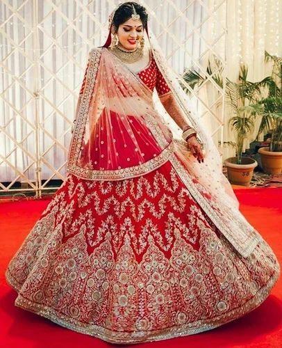 276a01fec91 Red Brocade Bridal Lehenga Choli Dupatta