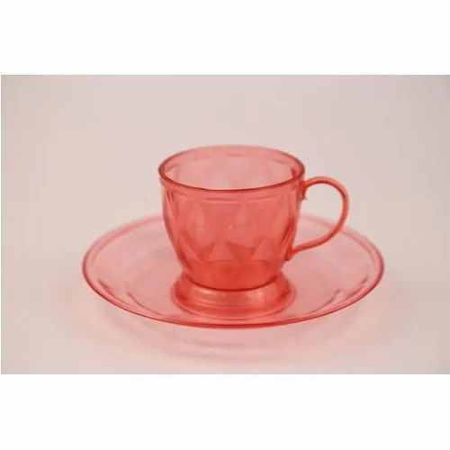 Transparent,Red Plastic Plastics Tea Cup, for Home,Office