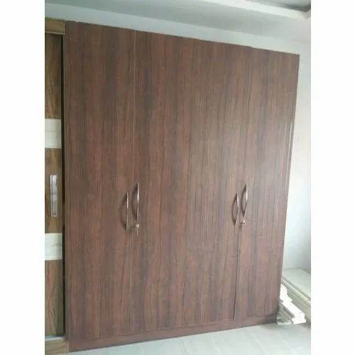 Brown Modular Double Door Wooden Wardrobe, For Home