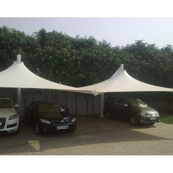 White Pyramid Car Parking Tensile Structure