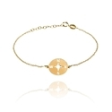 Direction East West North South Charm Gold Plated Chain Bracelet