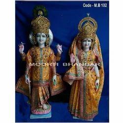 God Laxmi Narayan White Makrana Marble Statue