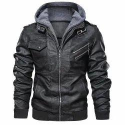 Black Western Wear Mens Hooded Leather Motorcycle Jacket
