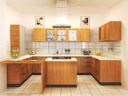 Wooden L Shape Modular Kitchen Service, Warranty: 5-10 Years