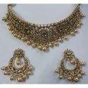 Stylish Bridal Necklace Set In 22 Ct Gold Studdedd With Natural Uncut Diamond Polki