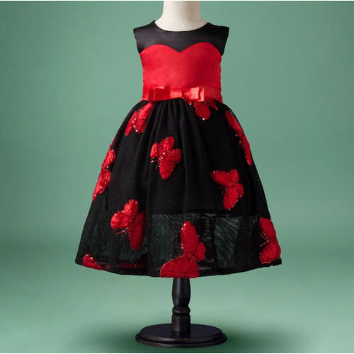 32e809a3a9ab Black And Red Party Wear Girls Round Neck Frock