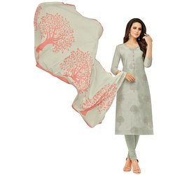Rajnandini Light Grey Chanderi Silk Embroidered Semi-Stitched Dress Material With Printed Dupatta