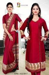 Maroon Silk Georgette Uniform Saree Kurti Combo