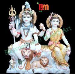 BM Art Marble Shiv Parvati Statue