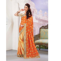 Party Wear Embroidery Trendy Designer Saree with Blouse Piece, Saree Length: 5.5 m