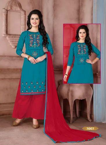 47c8d0abfc Semi-stitch Cotton Lakshya Export Palazzo Suit, Rs 599 /set | ID ...