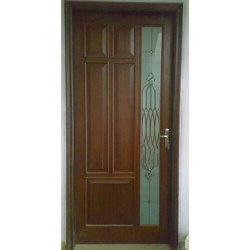 Wooden And Glass Hinged Decorative Wooden Door