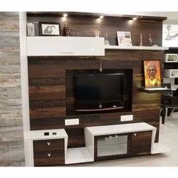 Brown Wall Mounted Modern Wooden TV Rack, For Home