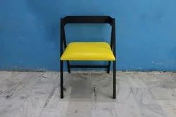 Black Standard Industrial Restaurant And Cafeteria Metal Cushion Chair