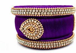 Purple silk thread bangels set
