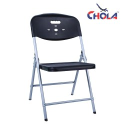 Foldable Black Folding Chairs, For Home, Polymer And Mildsteel