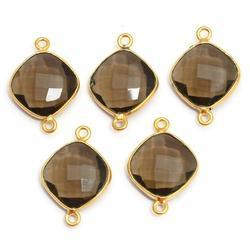 Smoky Quartz Cushion Shape Bezel Set Connectors