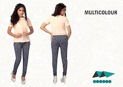Multicolor Cotton Printed Leggings, Size: Large