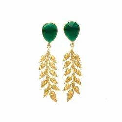 Green Onyx Long Earrings
