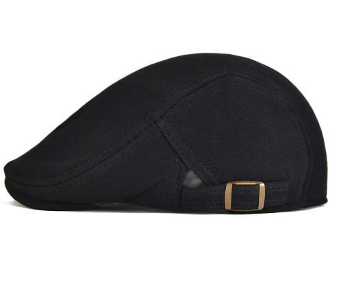 Black And Gray Men    s Cotton Flat Ivy Gatsby Newsboy Black Color Driving  Cap fb396f47be0