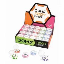 Doms Neon Hex Dust Free Eraser 60 Pcs
