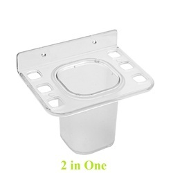 ABS Transparent 2in1 Toothbrush Holder for Hotel, Home