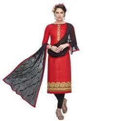 Red Colored Brasso Cotton Embroidery Unstitched Casual Wear Salwar Suit