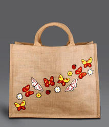 Printed Jute Bag With Small Luxury Handle