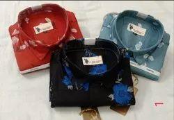 Multicolor Collar Neck Mens Cotton Printed Shirts
