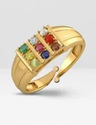 Gold Plated Adjustable Navratna Ring
