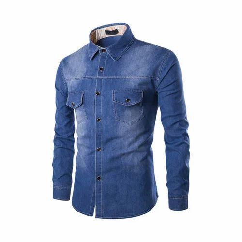 Plain Party Wear Mens  Jeans Shirt 38cd739a2