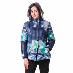 Blue Printed Woolen Jacket