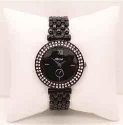 Brown Belt With Diamonds Ladies Wrist Watch