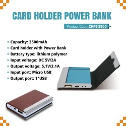 Card Holder With Power Bank 2500mAH