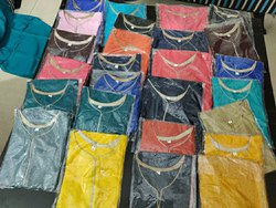 Silk Straight Golden Block Print Kurti