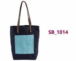 Plain Denim Blue Processed Jute Ladies Bag, Capacity: 5 Kg