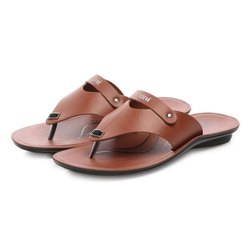 Mens Tan Flip Flop Casual PU Slippers