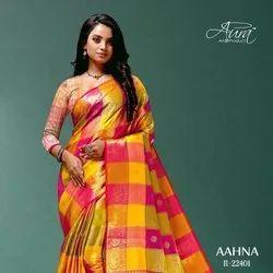 Latest Designer Pure Cotton Silk Saree With Rich Pallu