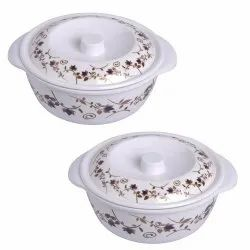 Mehul Crockery Brown Lotus Melamine Casserole With Lid - Set Of 2 Pcs