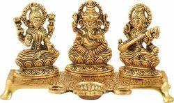 Diwali Gift Gold Plated Laxmi Ganesha Saraswati