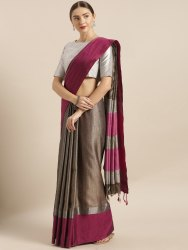 Grey & Pink Solid  Linen Blend Silk Saree with Blouse Piece
