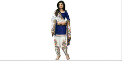 Blue And White Printed Patiala Suit