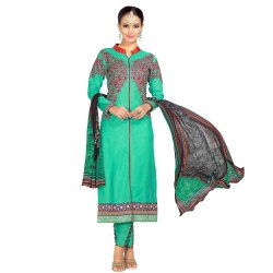 Green Colored Glace Cotton Unstitched Salwar Suit