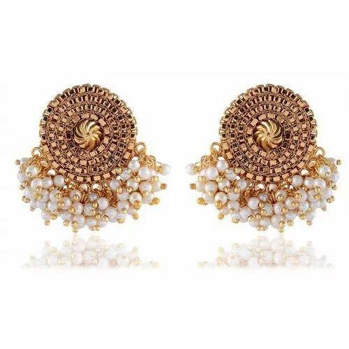 481209b3210 SINJARA Gold Plated Pearl Stud Earrings