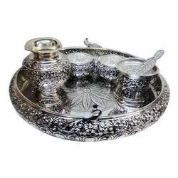 Silver Round Pooja Thali Rs 5000 /set Gargi Silver Art   ID 14706524288  sc 1 st  IndiaMART & Silver Round Pooja Thali Rs 5000 /set Gargi Silver Art   ID ...