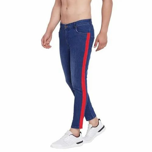 Men Casual Wear Red Tapped Indigo Denim