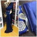 Blue Satin Saree With Banarasi Silk Blouse