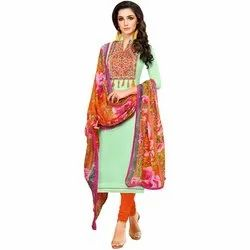 Rajnandini Turquoise Green Chanderi Silk Embroidered Semi-Stitched Dress With Printed Dupatta