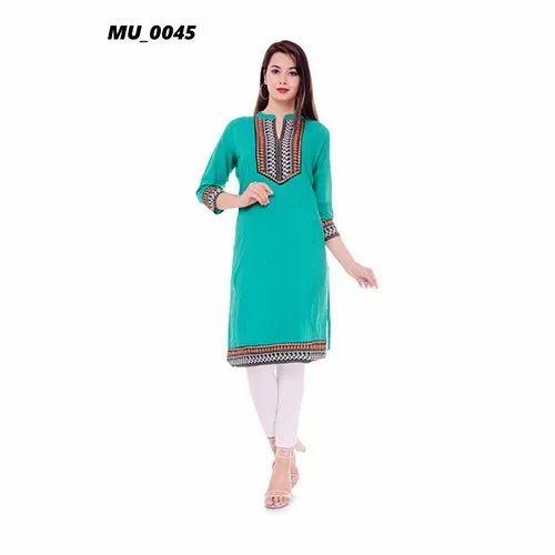 Cotton Casual Wear Green Ladies Kurti, Machine wash, Size: S-XXL